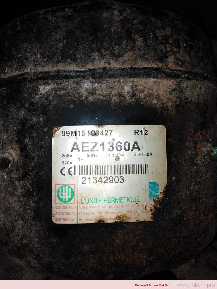 www.mbsm.pro, AEZ1360A, Kirby, Tecumseh, Compressors ,low back, pressure, models, 240v/50HT , 1PH , 1/5Hp , Gaz 12A