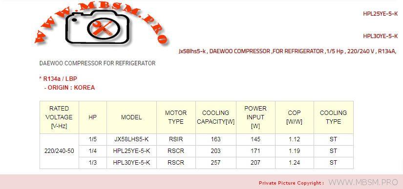 daewoo-compressor--hsl25ye5-15hp--1ph-r134a-220240v-50hzpuissance-frigorifique-176-w-690-btu-mbsm-dot-pro