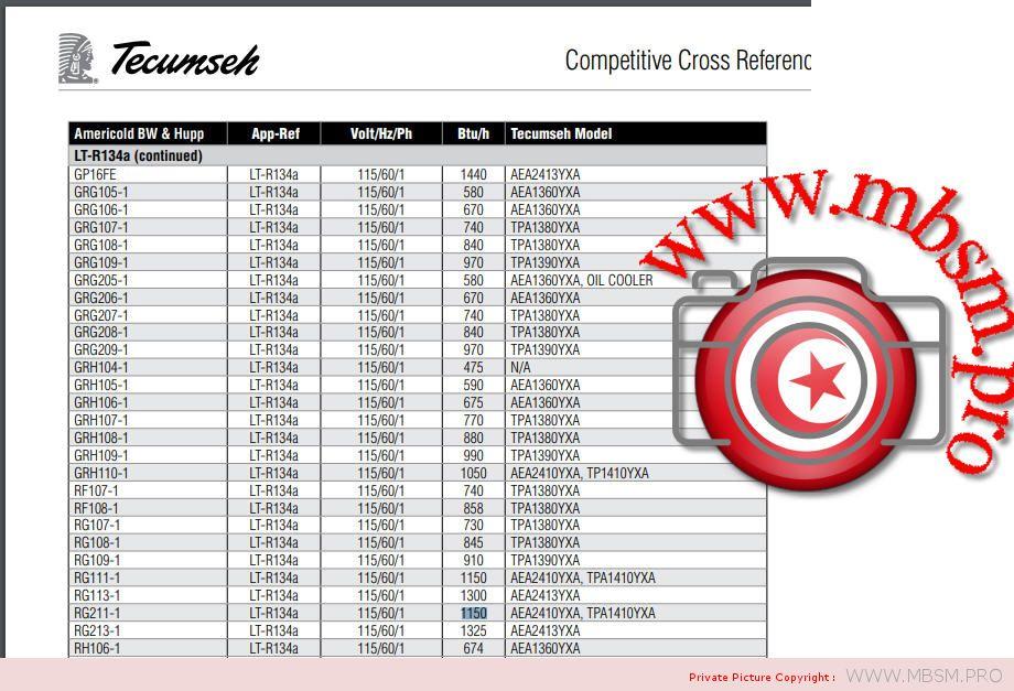 tecumseh-competitive-cross-rg21112-rg211-14-hp--1150-btu-r134a129-fla-120-lra-220v240v060hz-mbsm-dot-pro